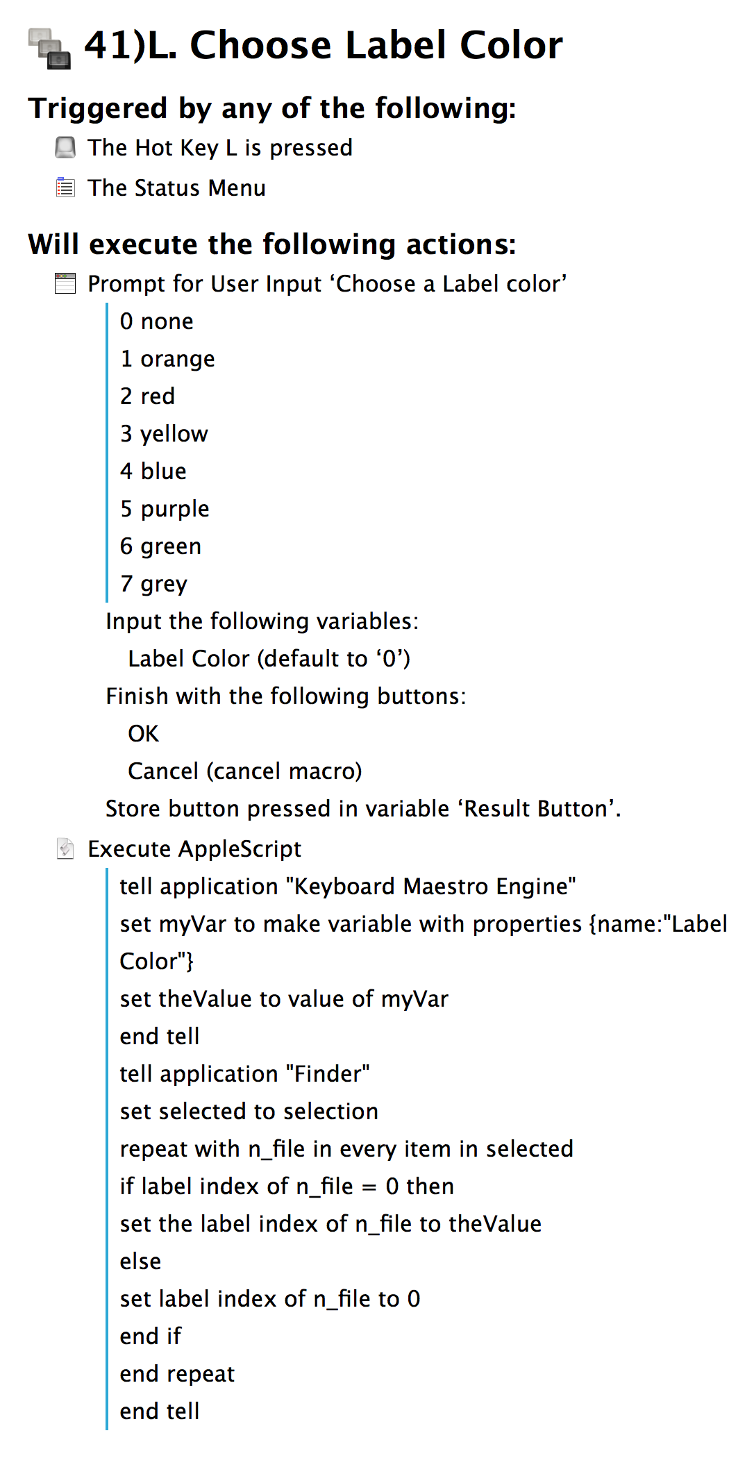 Keyboard Maestro macro for choosing label color in Finder