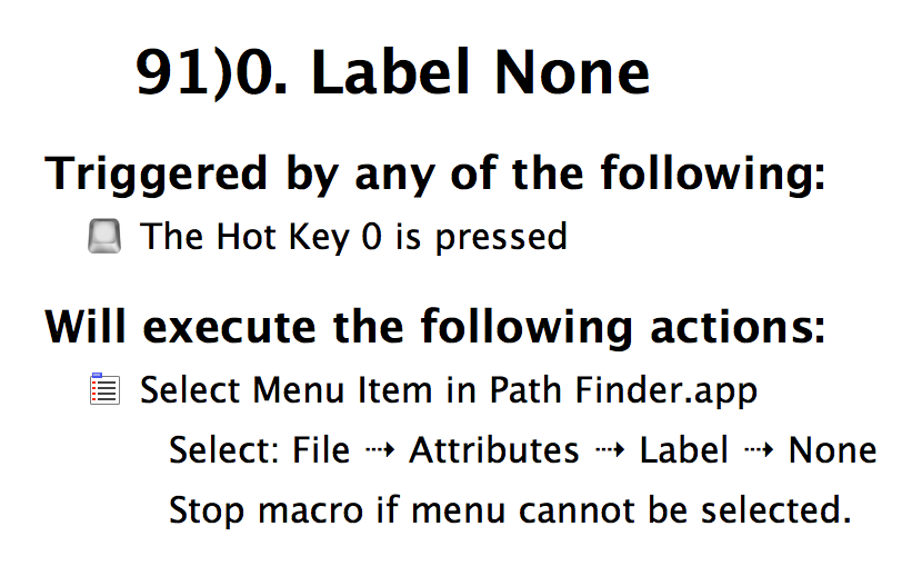 Change a Label color to None in Path Finder using Keyboard Maestro