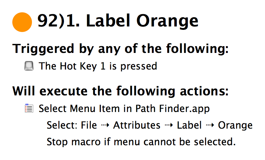 Change a Label color to Orange in Path Finder using Keyboard Maestro